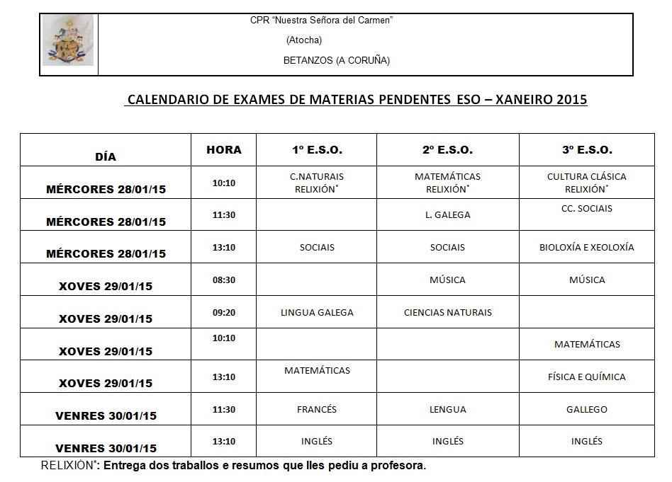 Calendario Pendentes E.S.O. XANEIRO 2015