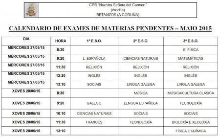 calendario de exames de materias pendente – maio 2015