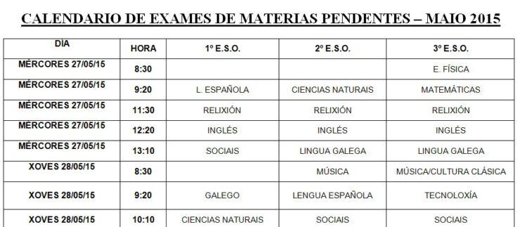 Calendario materias pendentes ESO – Maio 2015