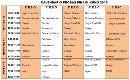 calendario probas finais xuño 2015