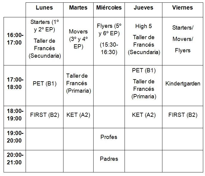 horario cambridge 15-16