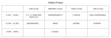 calendario exames finais 2º bac