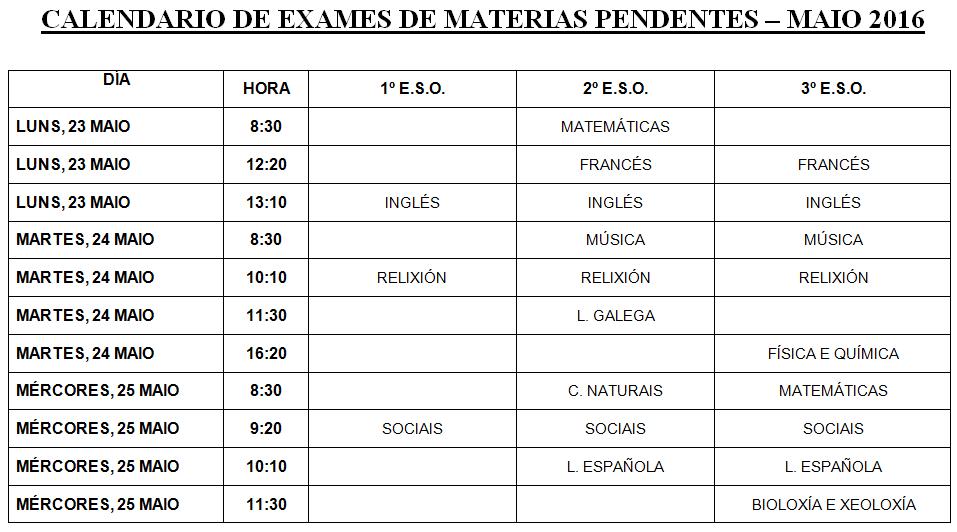 Exames materias pendentes maio 2016