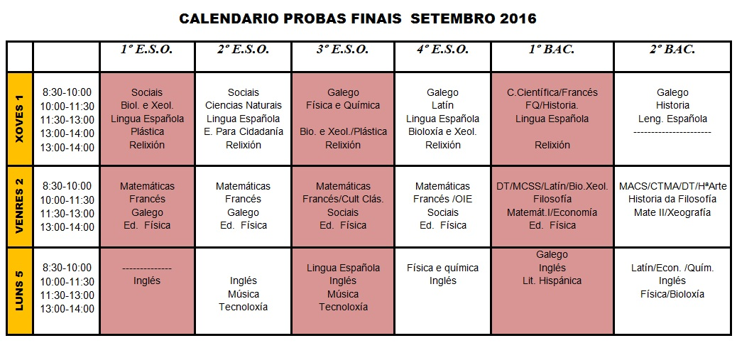 Calendario exames finais setembro