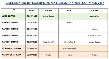 calendario materias pendentes maio 2017