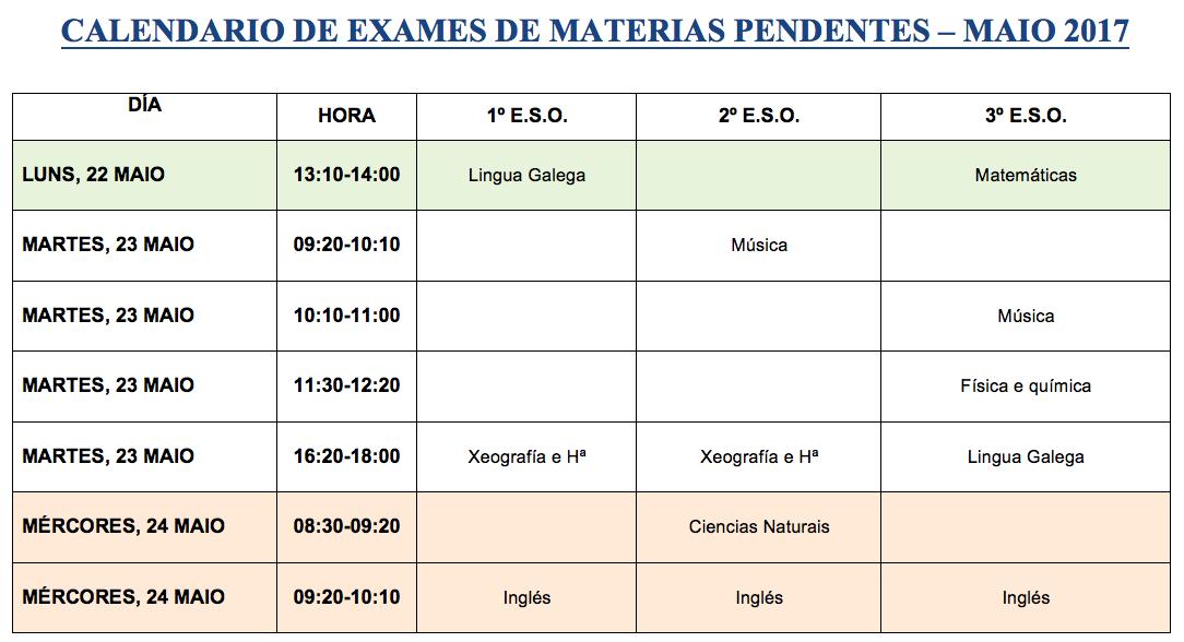 Calendario materias pendentes 1º, 2º e 3º ESO