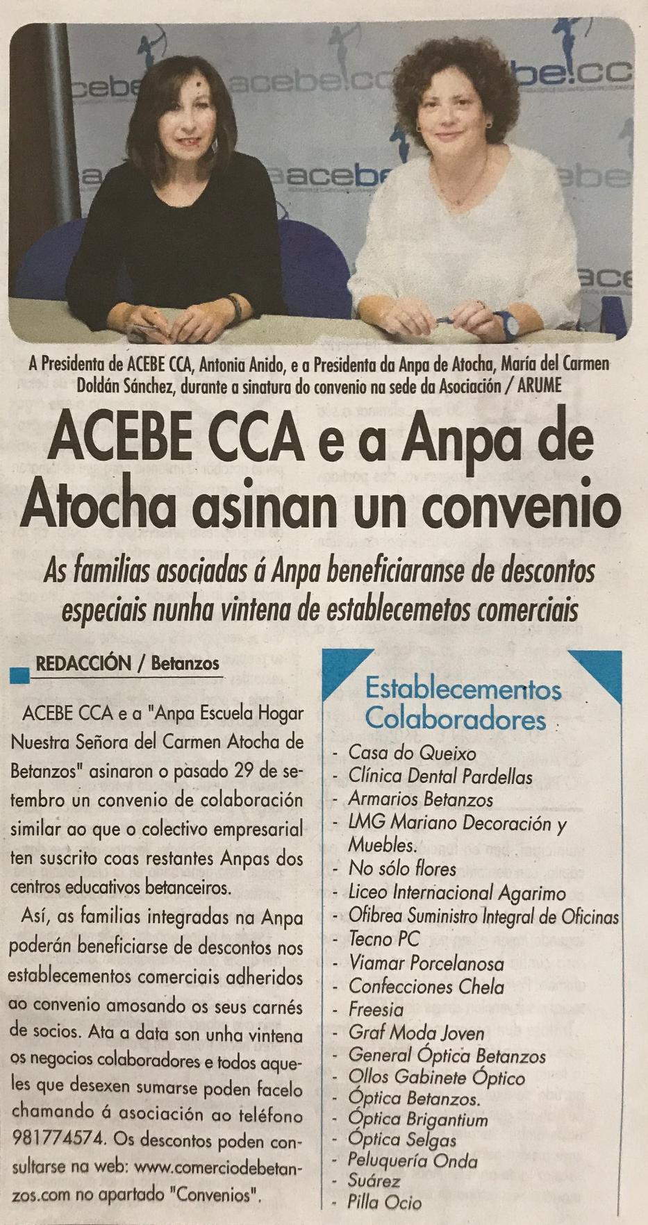 ACEBE CCA e a ANPA asinan un convenio