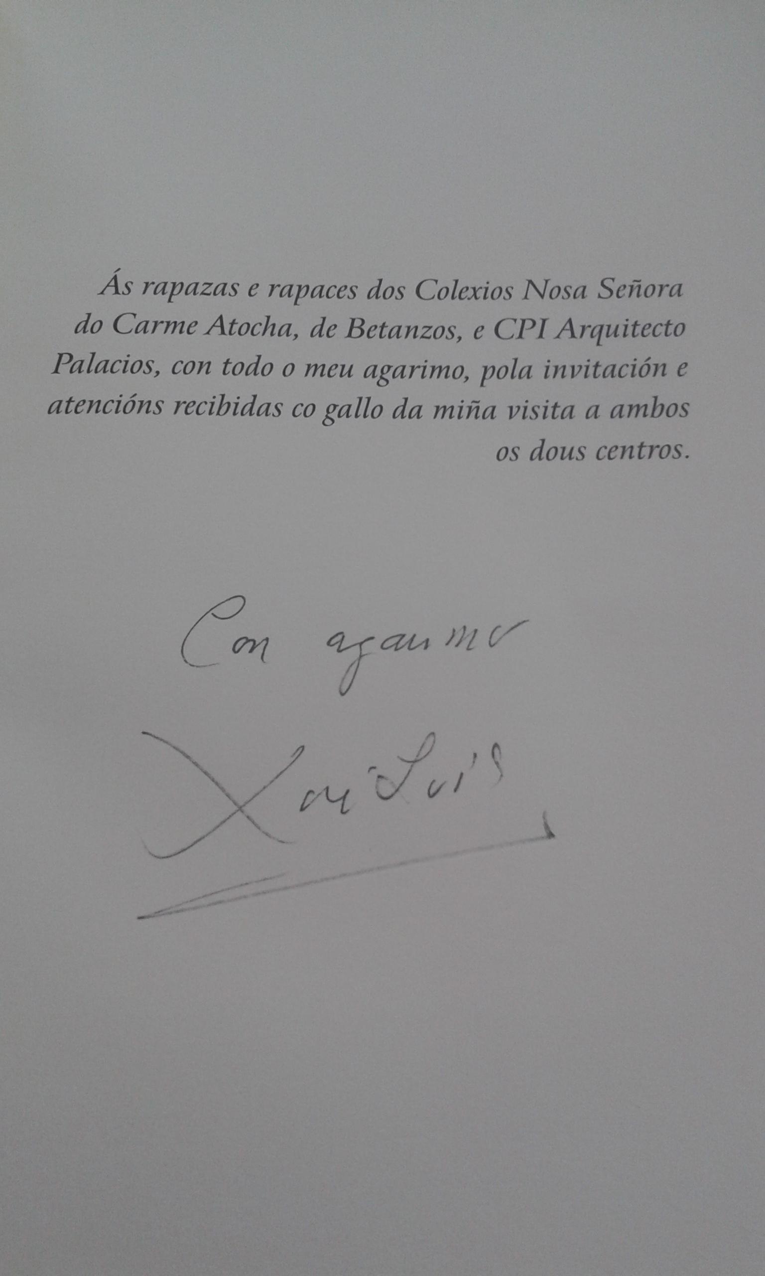 D. Xosé Lois Ripalda, mestre e escritor galego, adica ao alumnado do noso Colexio o libro VOLVE O INSPECTOR CHUMBO.
