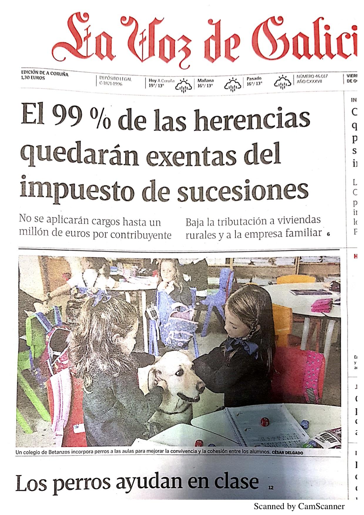 PORTADA en La Voz de Galicia de hoy 18 de octubre